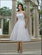 Organza and Lace Tea Length Wedding Dress