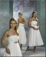 Organza and Satin Tea Length Wedding Dress