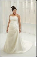Plus Size Embroidered Satin Bridal Gown