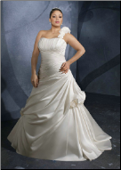 Plus Size One Shoulder Satin Wedding Gown