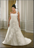 Plus Size One-Shoulder Organza and Satin
