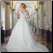Plus Size Satin and Lace Ballgown showing back of this elegant bridal gown