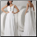Romantic Satin & Chiffon Destination Wedding Dress showing back of gown