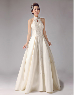 Satin Bridal Gown with Lace Mandarin Collar