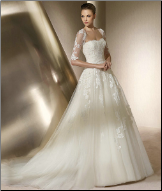 Satin and Embroidered Tulle Wedding Gown