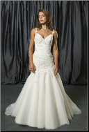 Satin and Tulle Fit and Flare Bridal Gown