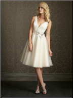 Satin and Tulle Tea Length Wedding Dress