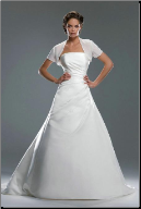 Strapless Satin Wedding Gown with Shrug
