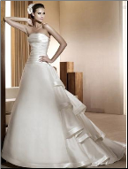 Stylish Strapless Satin A-Line Bridal Gown