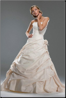 Stylish Taffeta and Lace Bridal Gown