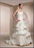Taffeta and Lace Strapless Asymmetrical Wedding Dress