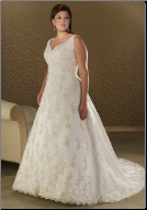 Embroidered Lace over Satin Sweetheart Neckline Gown