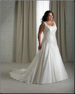 Beaded Taffeta Full-Figure Wedding Gown