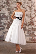 Organza over Satin Tea Length Wedding Dress