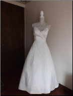Full-skirt Satin Wedding Gown with Diamante Straps in stock size 12