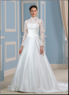 High Neckline Modest Wedding Gown with Long Lace Sleeves