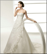 Satin and Organza Sweetheart Neckline Gown