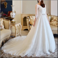 Luxurious Ball Gown Style Wedding Gown with Sleeves