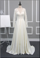 Modest Satin and Lace Wedding Dress