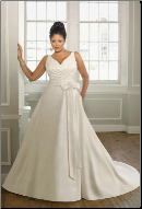 Plus Size V-Neckline Taffeta Wedding Dress