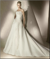 One Shoulder Embroidered Satin Wedding Gown