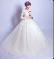 Satin and Organza Ballgown with Embroidered Bodice