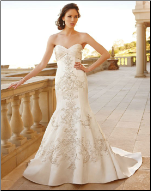 Satin Wedding Gown with Embroidery