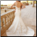 Satin Wedding Gown with Embroidery showing back of gown and elegant train