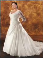 Long Sleeved Taffeta Wedding Gown