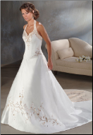 Halter Neckline Embroidered Satin Wedding Dress