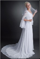 Chiffon Wedding Dress with Lace Sleeves