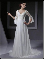 Empire Line Sweetheart Chiffon Wedding Gown with Lace Sleeves