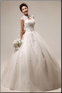 Mandarin Collar Organza and Lace Wedding Gown