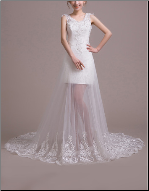 Short Wedding Dress with Embroidered Organza Overlay