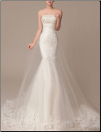 Sultry Fit-and-Flare Organza and Satin Wedding Gown