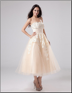 Organza over Satin Tea Length Dress