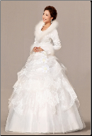 Winter Wedding Gown with Long Sleeves and Fur Edging