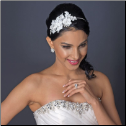Tina Diamond White Lace Headpiece with Pearls and Rhinestones