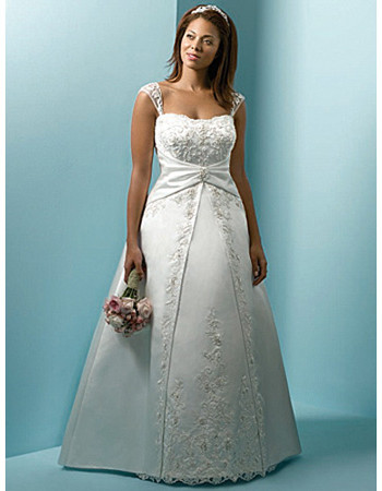 Princess Style Satin Wedding Dress, dainty cap sleeves, flattering ...