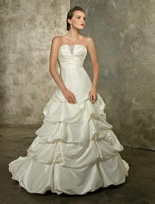 Modern Strapless Satin Ball Gown 32500 Affordable Wedding Dress