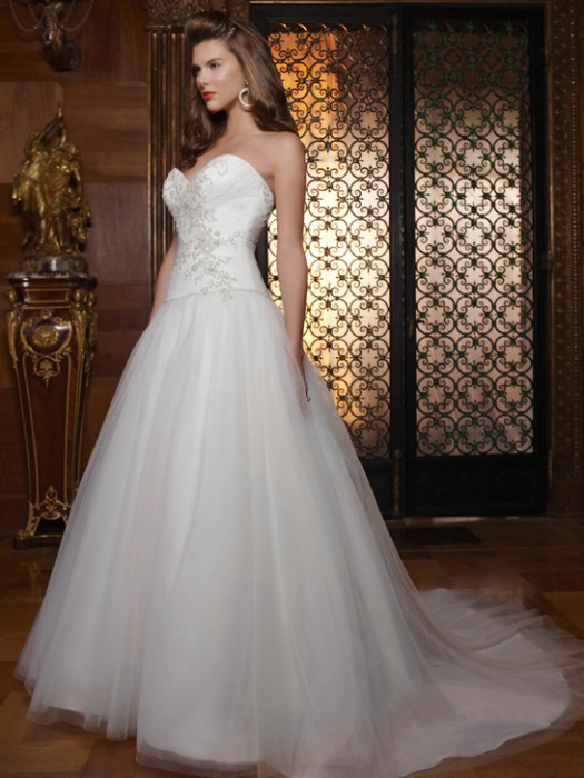 Casablanca Princess Style Tulle Gown, $365.00, embroideried satin ...