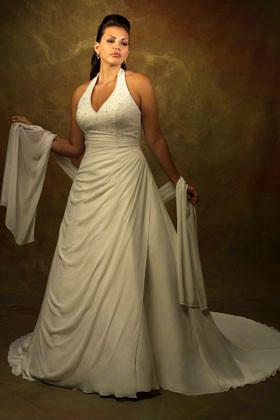 Halter Neckline Plus Size Satin and Chiffon Wedding Dress ...