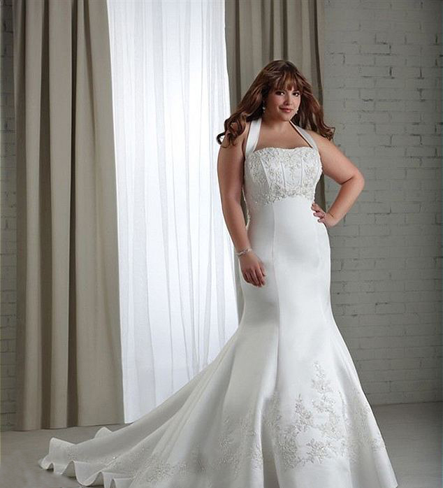 Full Figure Wedding Gowns: Full-Figure Halter Neckline Satin And Lace Mermaid Style