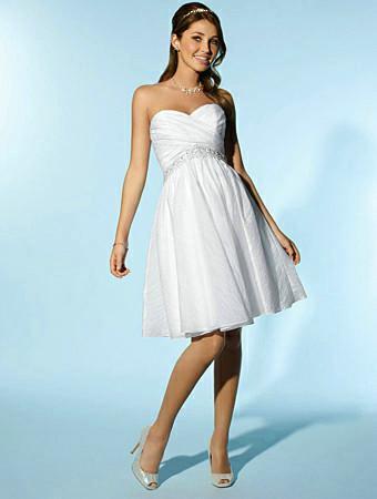 Organza Sweetheart Neckline Knee Length Wedding Dress