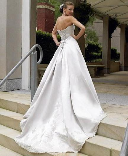 Lace Wedding Dresses Under 400 : Line strapless satin and lace bridal gown back of dress showing