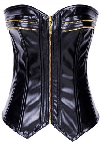 faux leather zipper front sweetheart neckline boned corset