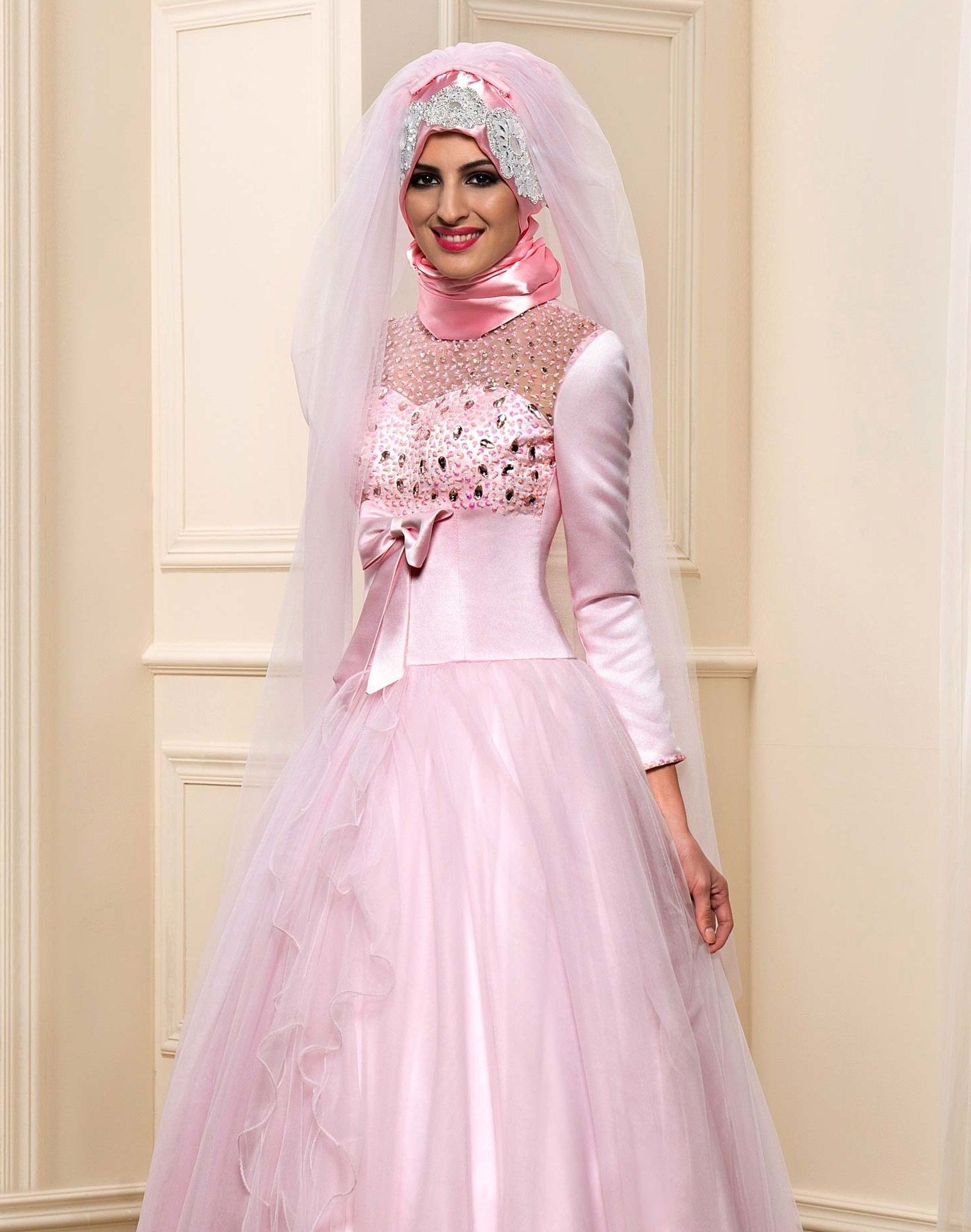 Affordable Beaded Satin Long Sleeve Muslim A-Line Wedding Dress with ...