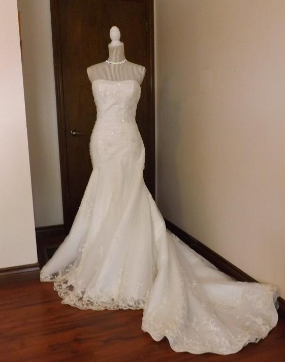 Alluring Embroidered Mermaid Style Wedding Gown Size 8