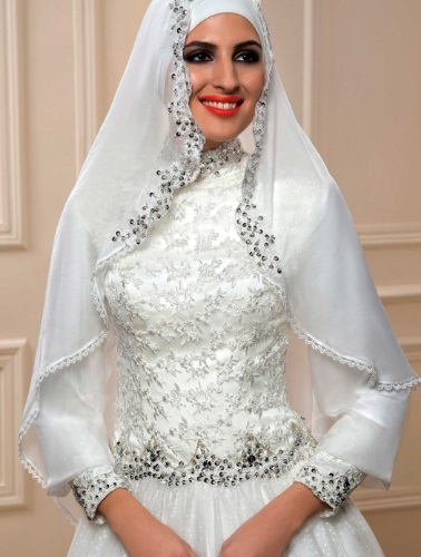 585edd4589 Arabic Beaded Lace High Neck Muslim Wedding Dress - close-up of bodice and  hijab ...
