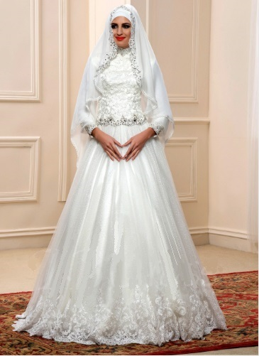 98cacc70042 Arabic Sequins Beaded Lace High Neck Muslim Wedding Dress with Hijab ...